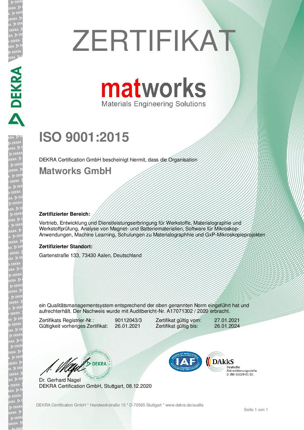 Erfolgreiche Re-Zertifizierung nach ISO 9001:2015 und Ausdehnung auf strategische Bereiche